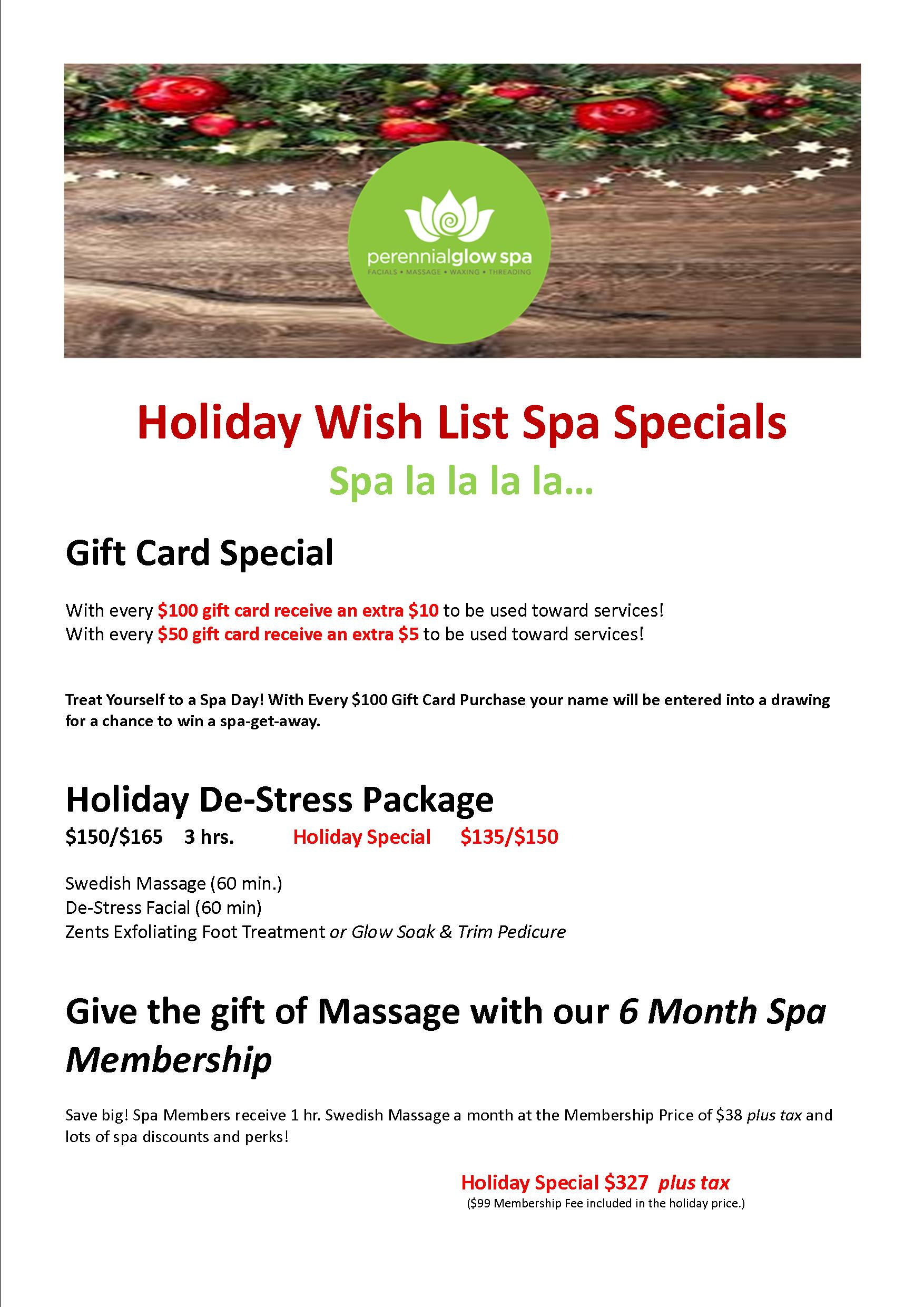 Christmas Gift Card Specials | PerennialGlow Spa