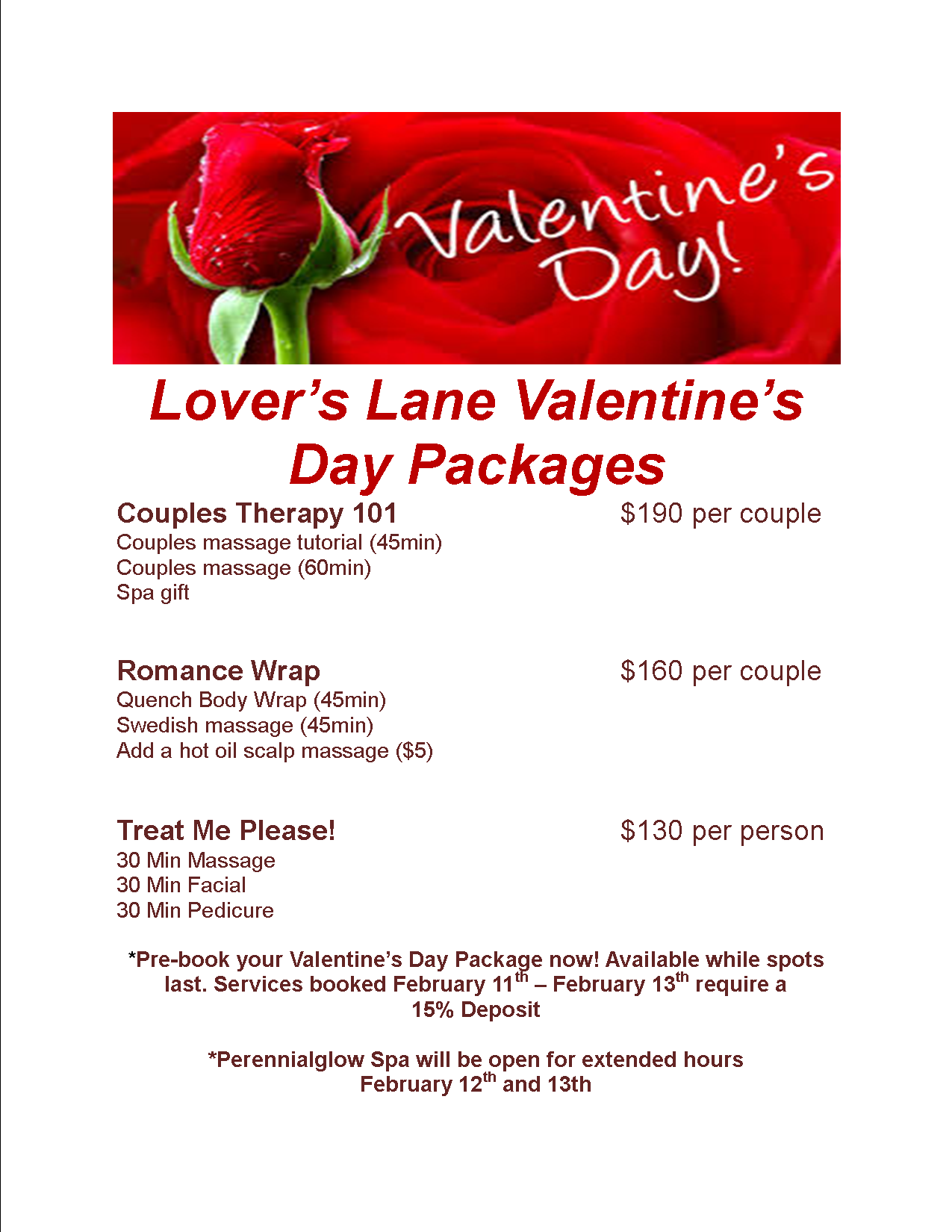 Valentine s day specials perennialglow spa for Weekend girl getaways spa packages
